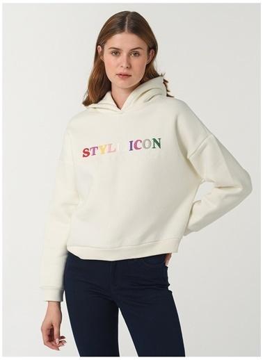 Limon Company Limon Kapüşon Yaka Beyaz Kadın Sweatshirt Beyaz